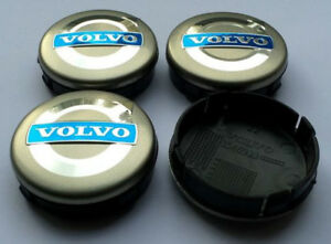 Rueda-de-aleacion-4x-64-mm-Plata-Volvo-centrecaps-C30-C70-S40-V50-S60-V60-V70-S80-XC90