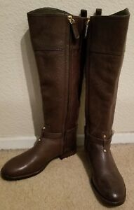 0f216b5fe619 NEW TORY BURCH MARLENE TUMBLED BROWN LEATHER REVA TALL RIDING BOOTS ...