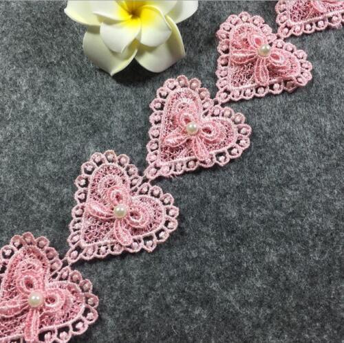 2 Yd Doppelschicht Perlen Herzförmige Bogen Spitze Nähen Hochzeit Dekoration DIY