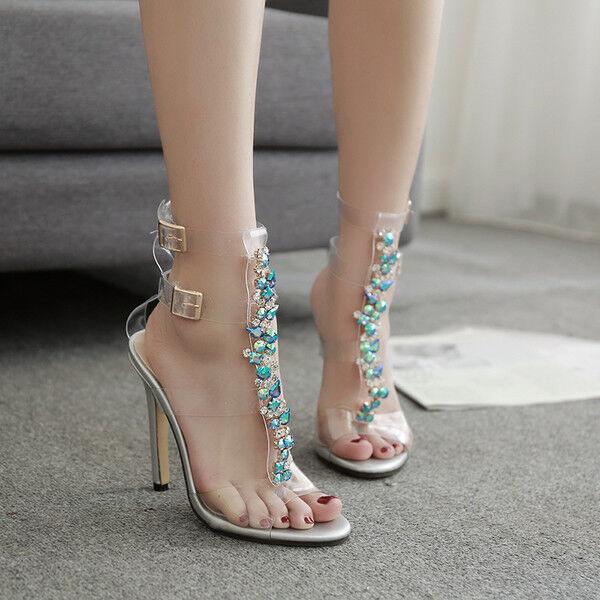 Sandale stiletto eleganti sabot 11 cm trasparente blu simil pelle eleganti CW201