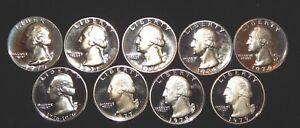 1970-1979-Proof-Washington-Quarter-Run-Set-9-US-Coins