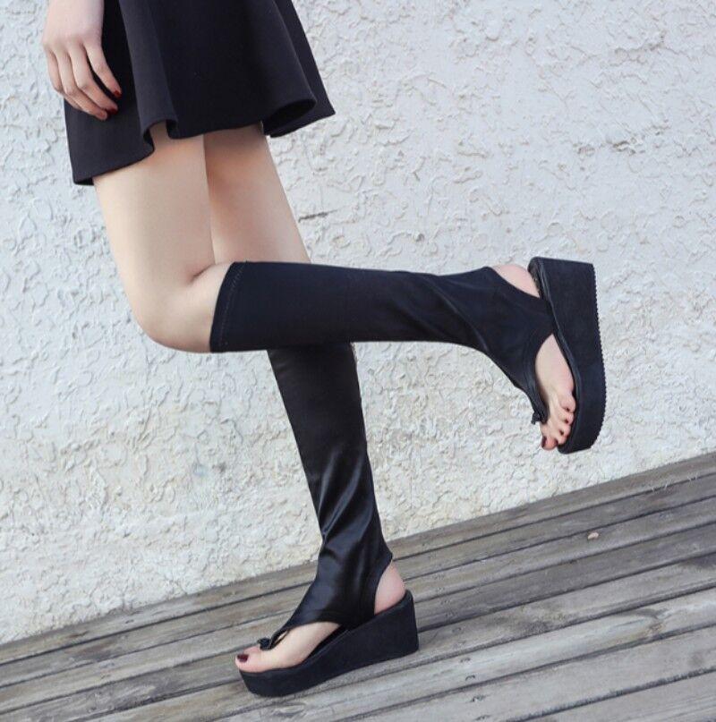 Roma Gladiador Cuña Tacones Altos Elástico para Mujer Mujer Mujer de la rodilla botas altas Zapatos Sandalias  100% precio garantizado