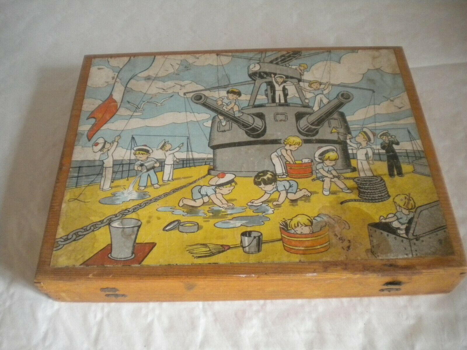 Jahr 1930s Holzen block puzzle Boxed 33 x 25 cms Air France kämpfenship scouts