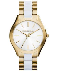 80cd4230d605 Michael Kors Watch MK4295 Ladies Slim Runway Gold-tone   White New ...