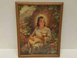 Beautiful-Warner-Sallman-The-Boy-Christ-holding-Lamb-Jesus-Vintage-Lithograph