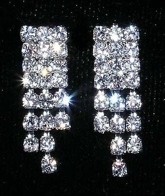 Small Diamante / Rhinestone Alternating Drops Earrings (Special Occasion)