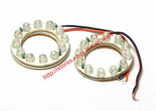 2 X Red Angel Eye 12 LED, Directly fits on H4 Bulb, Bright Light for Cars Bikes
