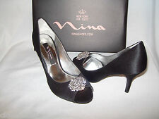 Nina Size 7 M  Black Luster Heels Pumps Open Toe New Womens Shoes