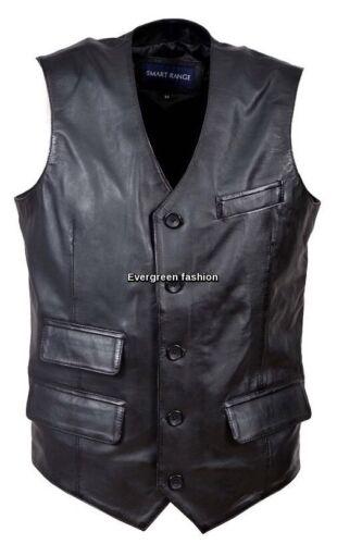 Men/'s Party 6381 Black Fashion Classic Real Lambskin Napa Soft Leather Waistcoat