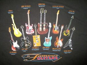 FAMOUS-GUITAR-PLAYERS-GUITARS-T-SHIRT-Lenny-Lucille-Twang-Flaming-Polka-Dot-XL