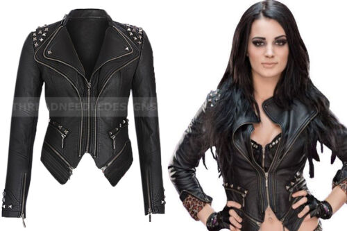 Damejakke Nxt Biker Studded Diva Black Leather Paige WWE AwECTq04A