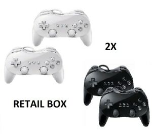 Blanco-Negro-Classic-Controller-Pro-en-Caja-Para-Consola-Nintendo-Wii-U-garantia-Reino-Unido