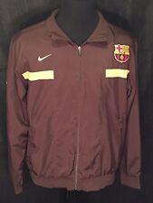FC Barcelona Soccer Futbol Shield Patch Nike Mens Large L Brown Full Zip Jacket
