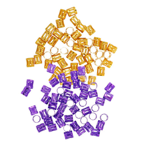 100Pcs Adjustable Hair Braiding Clips Dreadlock Beads DIY Crafts Purple Gold