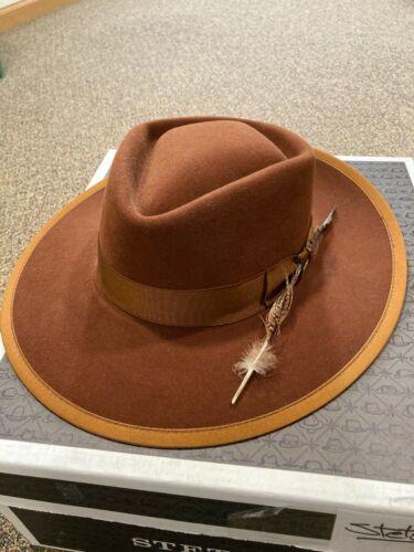 Stetson fedora hat 7 1/4 rockway western tan brown