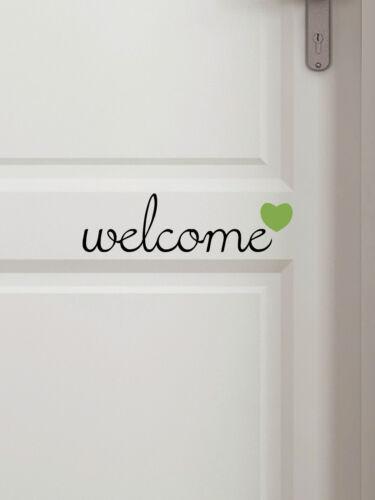 """Farbe individualisierbar Türschild /""""welcome/"""" zweifarbig Aufkleber"""