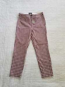 NEW-WOMENS-J-CREW-MARTIE-PANTS-IN-MAHOGANY-IVORY-GINGHAM