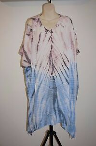 Kaftan-Dress-Beach-cover-up-Hippie-Top-Rayon-One-size-casual-Open-shoulder-XL