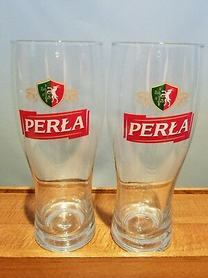 set of 2 Euc 2 Vintage Perla Pils  Beer Tulip Glasses