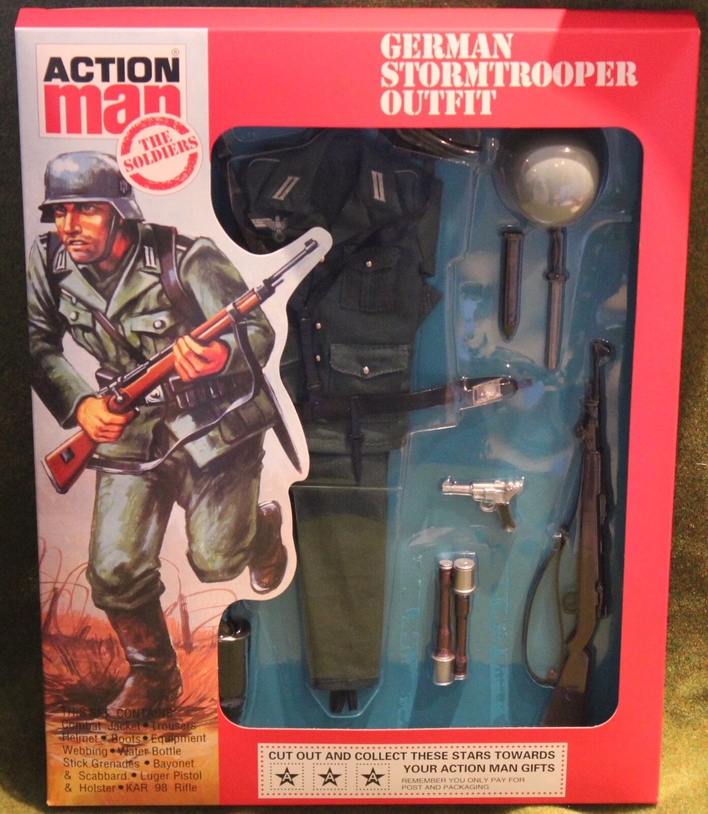 Vintage action man 40th anniversary german stormtrooper uniform carded boxed
