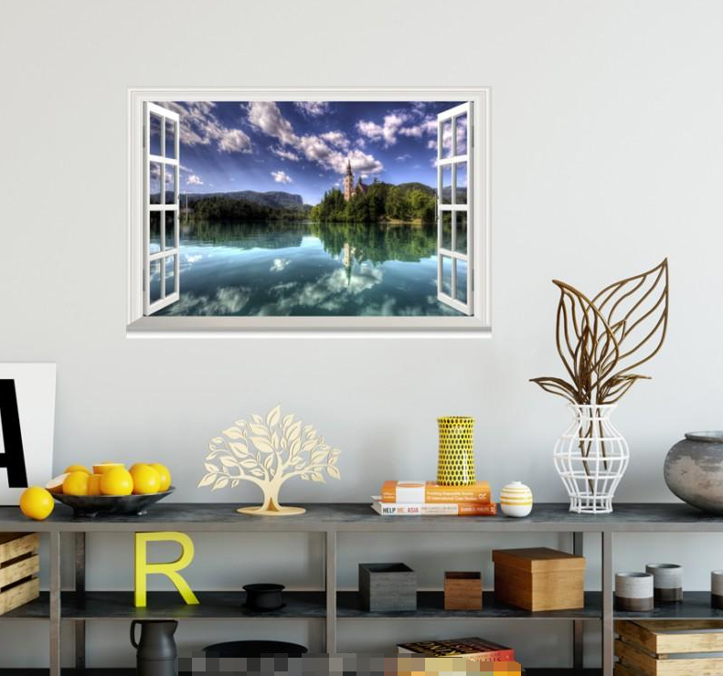 3D River Bank Sky 99 Open Windows WallPaper Murals Wall Print Decal Deco AJ WALL