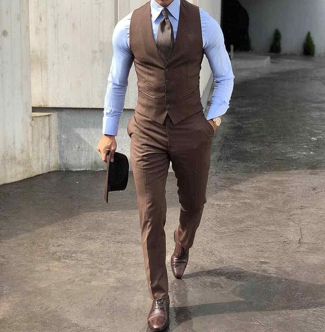 Men's Brown Suits Peak Lapel Formal 3 Pieces Slim Tuxedos Groom Dress Suits 2019