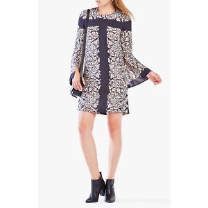 BCBG-BCBGMAXAZRIA-Womens-Black-Dulchey-Floral-Print-Tunic-Dress-S-Small