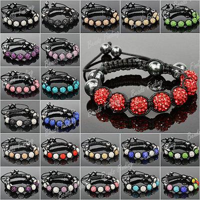 10mm Crystal Rhinestones Disco Balls Beads Friendship Adjustable Bracelets