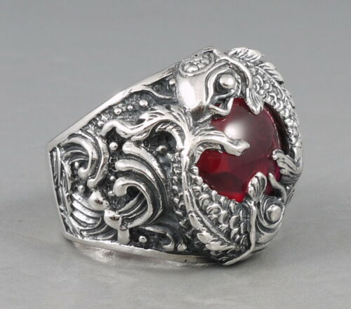 Heavy Lucky Power Fortune rouge japonaise Koi argent sterling 925 Homme Anneau