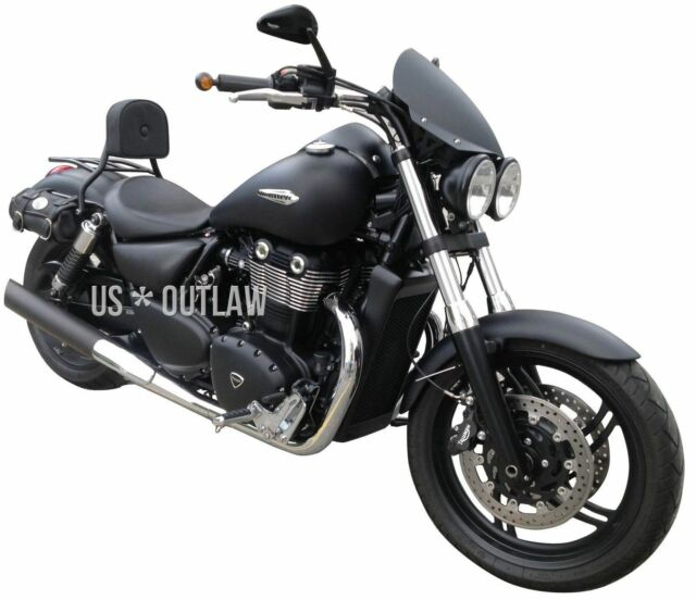Black Driver Backrest With Pad Rack For Triumph Thunderbird Storm