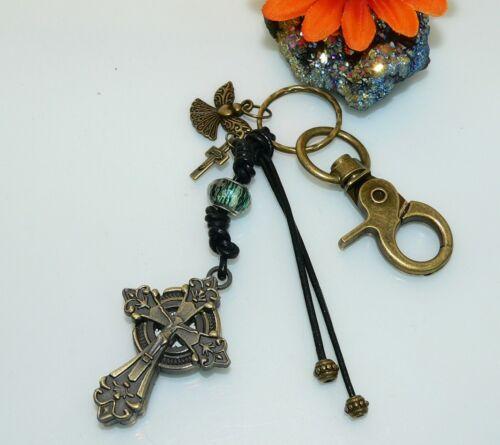 Schlüsselanhänger Taschenbaumler Leder Karabiner Vintage Taschenuhr Kreuz s14i