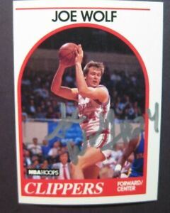 Signed 1989-90 NBA Hoops JOE WOLF basketball card autograph auto LA Clippers UNC