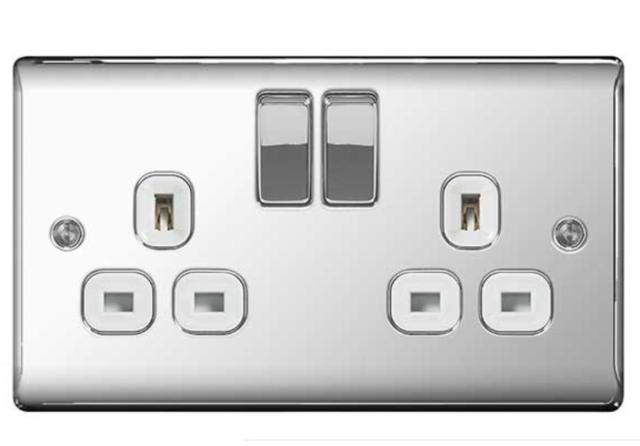 13amp 7 x BG Nexus NPC22W Polished Mirror Chrome Twin Switch Sockets