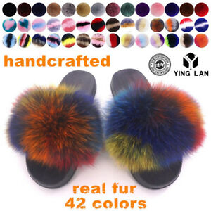 906a30917b6b4 Details about Real Fox Fur Slippers Sandals Shoes Fluffy Women Slides  Luxury Slippers