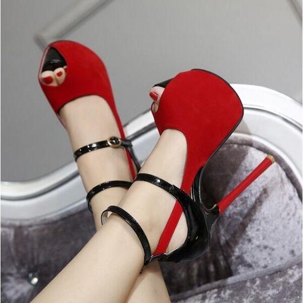 Sandalias de mujer cinturón tacón de aguja aguja aguja talón plataforma 16 rojo negro como  punto de venta