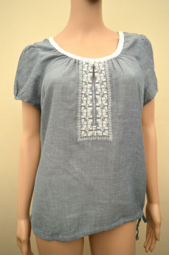 New M/&S Woman Chambray Blue Cream Embroidered Cotton Top Sz UK 14