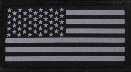 Reflective US Flag Patch Black /& Silver Military Hook /& Loop American USA