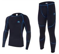 Mens Thermal Skin Tight Top & Bottom Pants Underwear Suits Set Winter Sport Ski