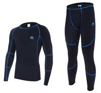 Mens Thermal Skin Tight Top & Bottom Pants Underwear Suits Set Winter Sport Ski
