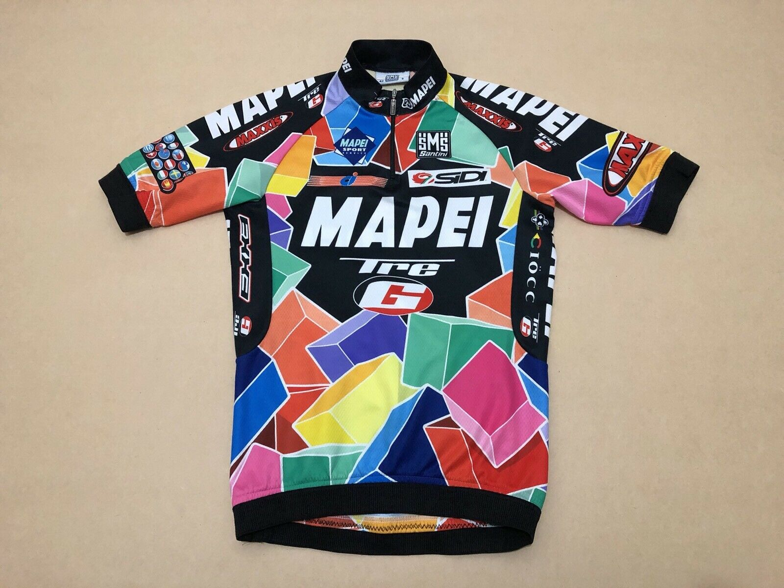 Santini Cycling Jersey Shirt Mens  Dimensione Smtutti  Great Cond Bire 14 Zip Up