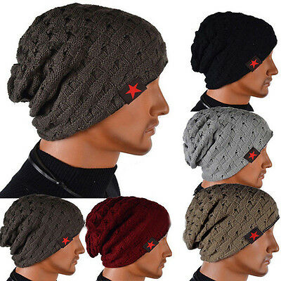 NEW Casual Men Knit Beanie Reversible Baggy Cap Skull Chunky Winter Hats Acrylic