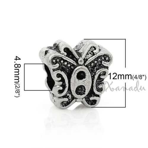 Butterfly Wholesale Silver Plated European Large Hole Beads B0598-5 Or 10PCs
