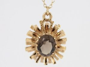 Smoky Quartz Pendant 9ct Gold Ladies Cable Chain Necklace 375 AC84 - Morpeth, United Kingdom - Smoky Quartz Pendant 9ct Gold Ladies Cable Chain Necklace 375 AC84 - Morpeth, United Kingdom