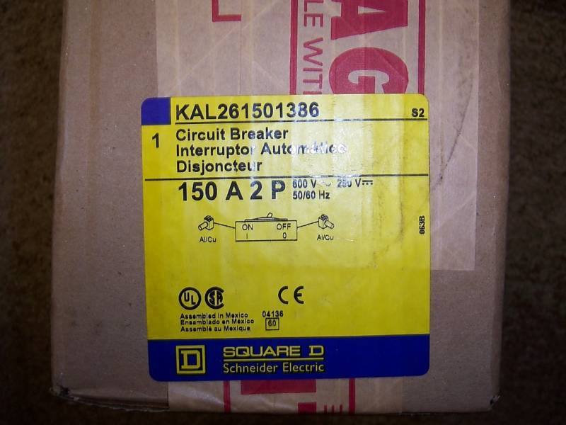 Square D KAL KAL26150 1386 2 POLE SHUNT AUX BREAKER NEW KAL261501386