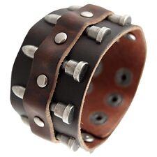 Cool Wide Punk Men Women Genuine Leather Bangle Cuff Bracelet with Bullet Rivets