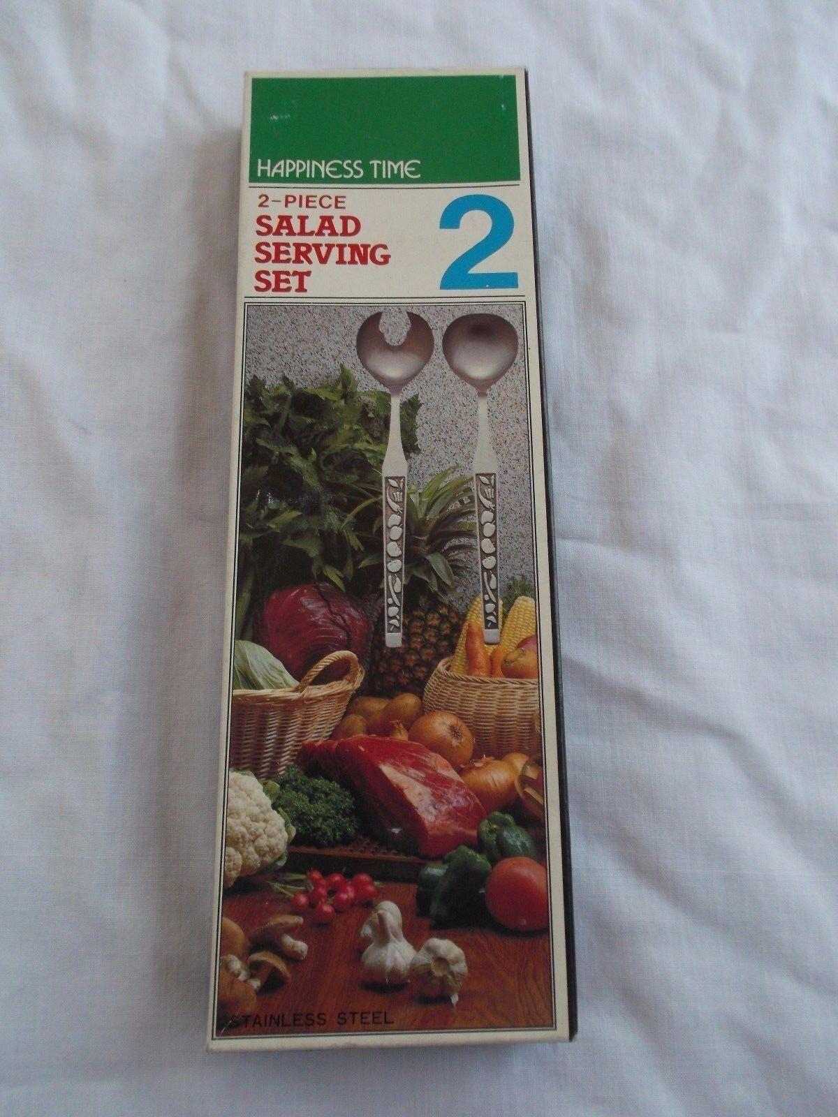 Vintage en Acier Inoxydable  HAPPINESS TIME  2 pièces Japon Salade Serving Set  NEW IN BOX