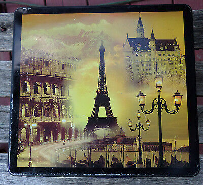 Delacre Bakery Belgium Tin Vintage Square Cookie / Biscuit Eiffel Tower Europe