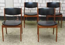 4 Stühle GLOSTRUP chairs 50er Teakholz Leder Denmark Esszimmerstühle
