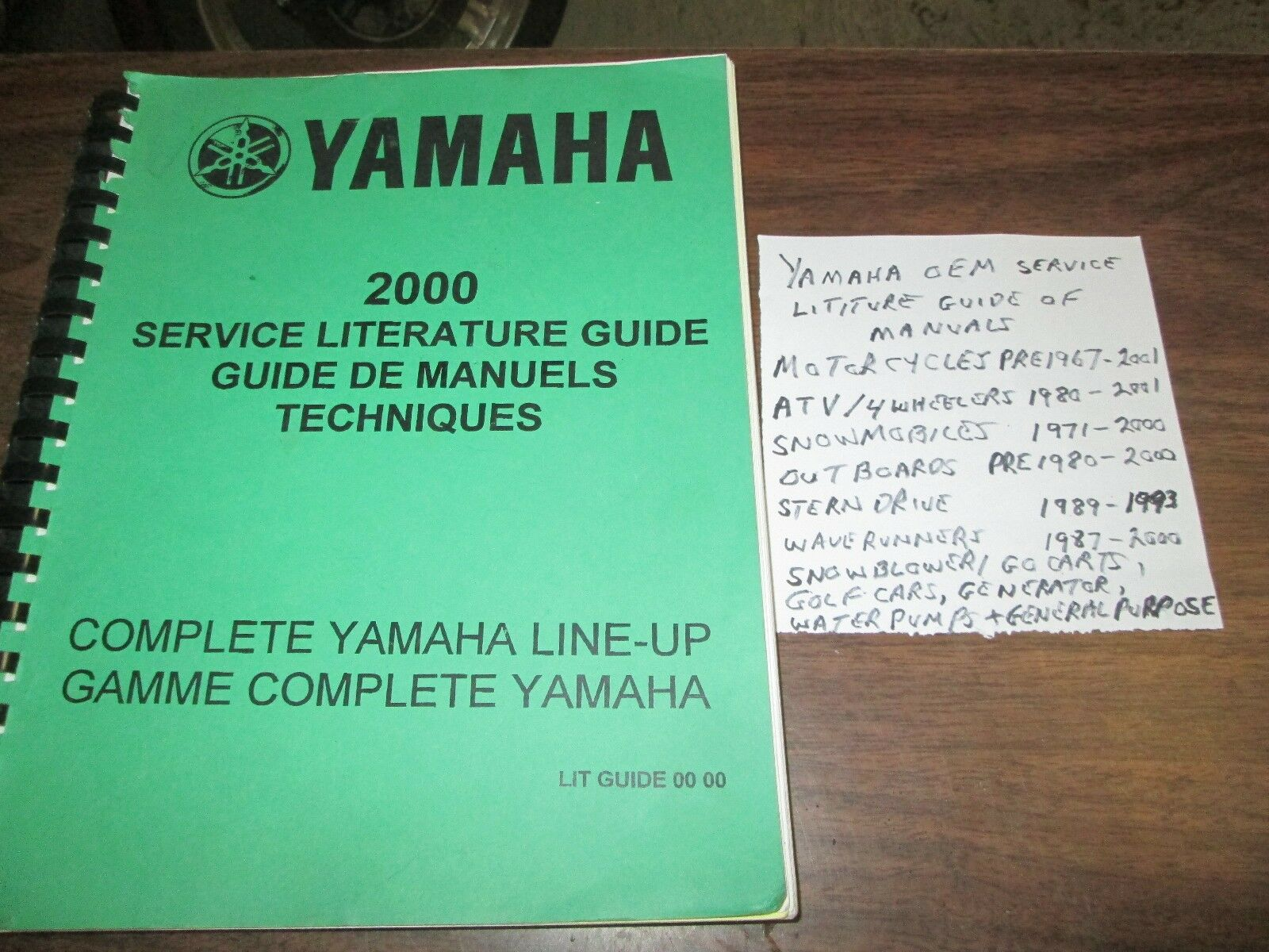 2000 YAMAHA SERVICE LITERATURE GUIDE OF MANUALS  , MOTORCYCLE   ATV   SNOWMOBILE  all in high quality and low price
