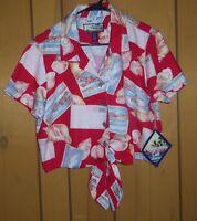 Havana Jack Cafe Women's Tie-front Button Floral Print Shirt Size